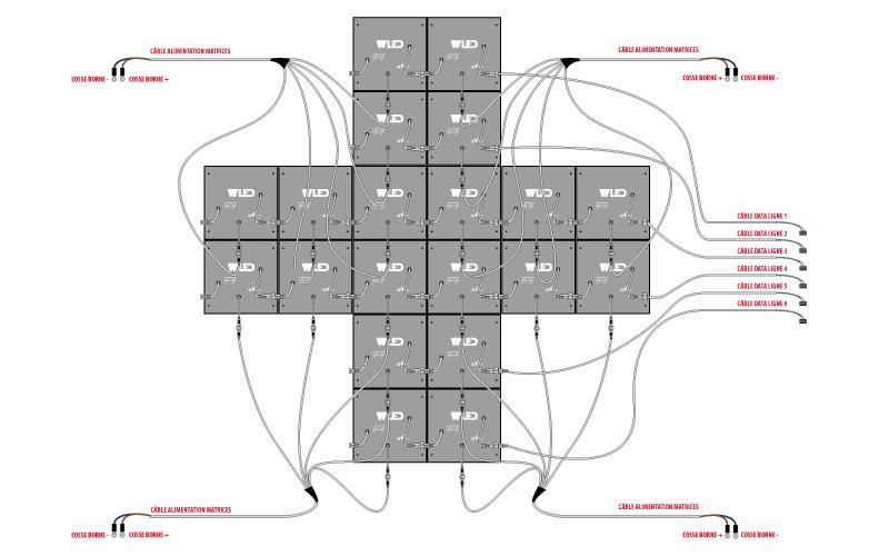 Kit croix LED 1500x1500 - plan