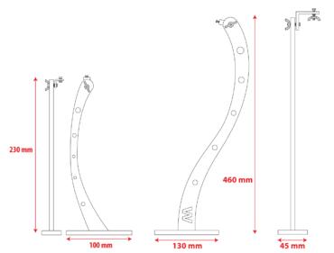 Dimensions potence rampe d'éclairage enseigne