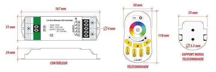 Contrôleur RGB / W - 4 x 60 W