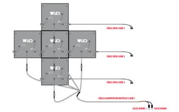 Croix LED kit 750x750 mm - montage des matrices