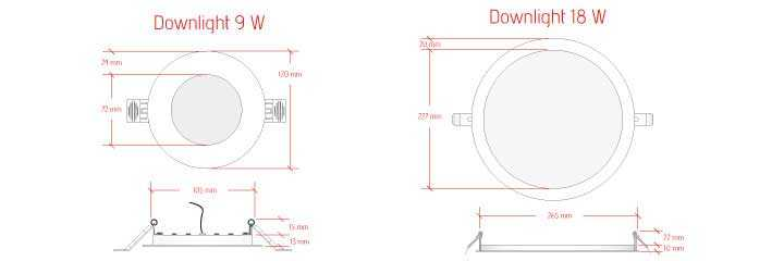 Schema spot downlight slim 9-18w